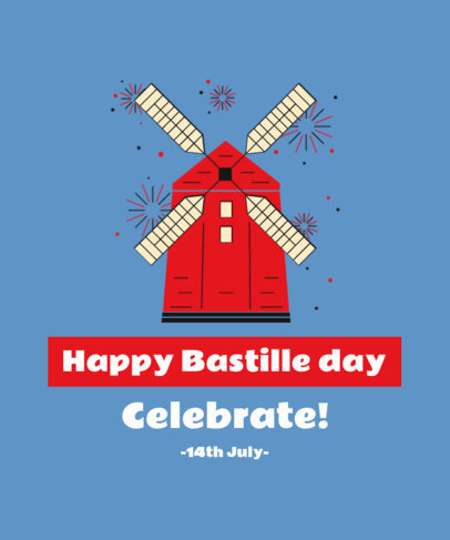 Bastille Day-Inspired T-Shirt Design Creator Featuring the Moulin Rouge 3770b
