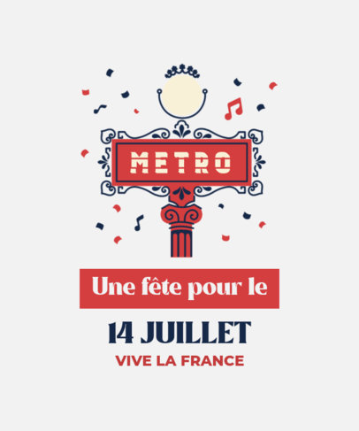 Bastille Day-Themed T-Shirt Design Creator with a French Quote 3770f