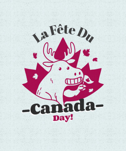 T-Shirt Design Creator for Canada Day with a Happy Moose Illustration 3775f