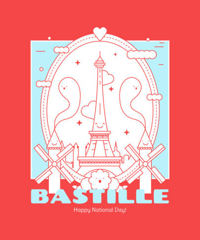 Bastille Day T-Shirt Design Template with an Illustrated Eiffel Tower 3769b