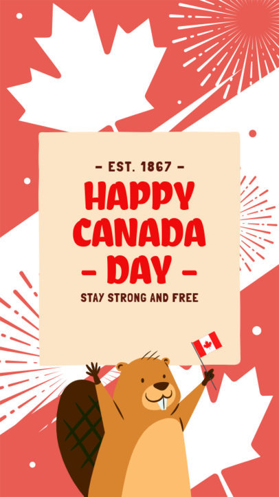 Instagram Story Template To Celebrate Canada Day Featuring a Beaver Clipart 3778d