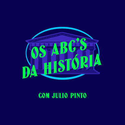 History Podcast Cover Maker Featuring Text in Portuguese 4413b