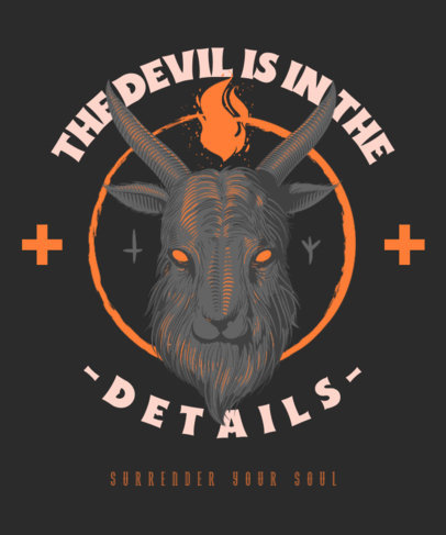Satanic T-Shirt Design Template with a Goat Head Illustration 3767c