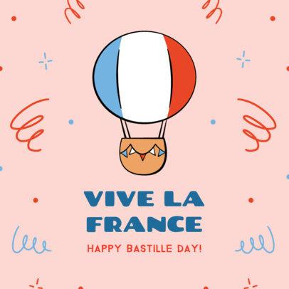 Instagram Post Design Maker with a Happy Bastille Day Message 3772f
