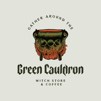 Witchcraft-Themed Logo Maker for a Coffee Shop Featuring a Cauldron Clipart 4406f