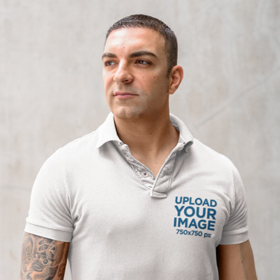 Polo Shirt Mockup of a Muscular Man with an Arm-Tattoo 45237-r-el2