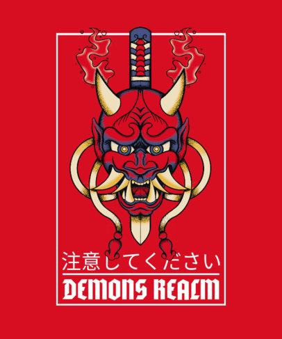 Tattoo-Styled T-Shirt Design Template Featuring an Oni Mask and a Dagger 4057a-el1