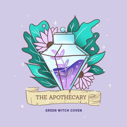 Illustrated Logo Creator with a Green Witchcraft Theme 4408j