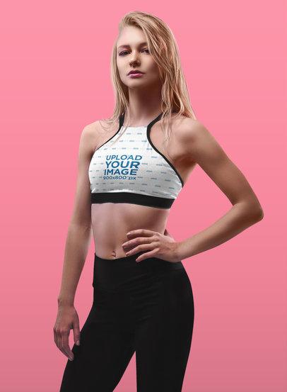 Sports Bra Mockup Featuring a Confident Blonde Woman 38554-r-el2