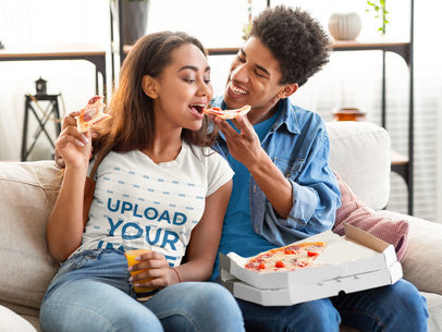 T-Shirt Mockup of a Young Woman Eating Pizza With Her Boyfriend 41079-r-el2