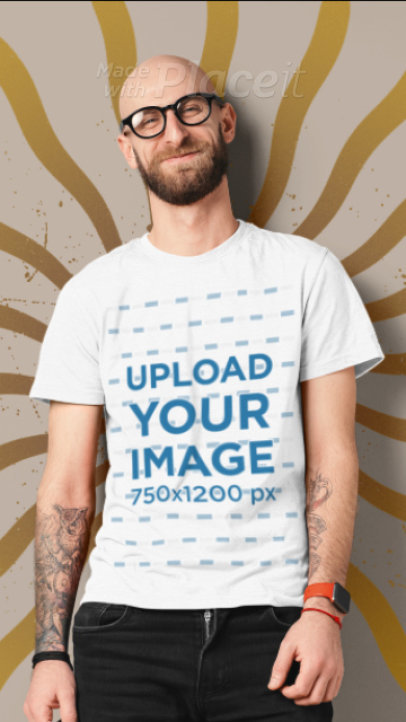 T-Shirt Video of a Smiling Bearded Man Featuring Animated Background Graphics 3290v