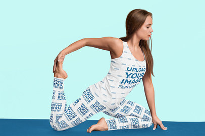 Tank Top and Leggings Mockup Featuring a Woman Stretching 43000-r-el2