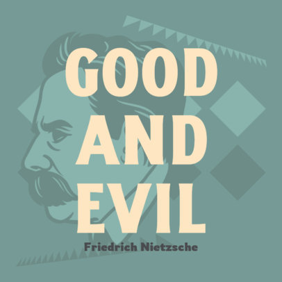 Philosophy Podcast Cover Maker with an Illustration of Nietzsche 4417o
