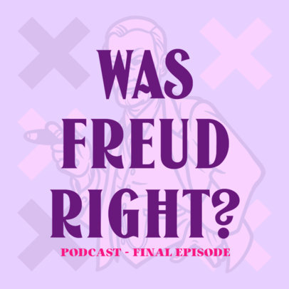 Podcast Cover Maker Featuring an Illustration of Sigmund Freud 4417l