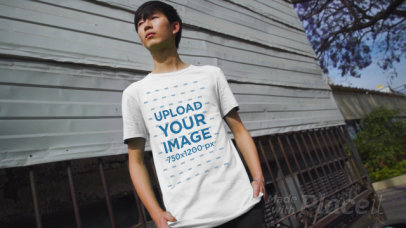 Video Featuring a Young Man Pointing at His T-Shirt 3413v