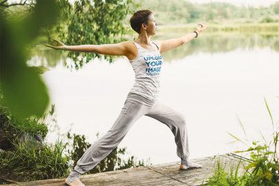 Tank Top Mockup of a Woman Practicing Yoga in Nature 45613-r-el2