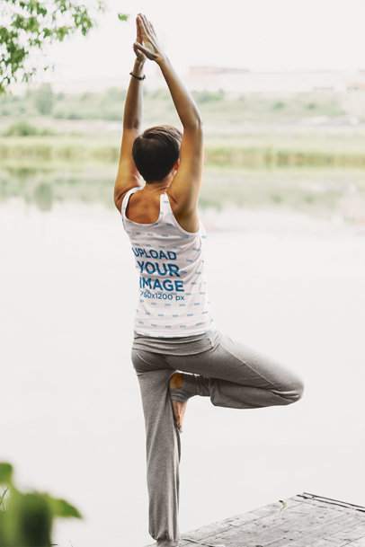 Sublimated Tank Top Mockup of a Woman Doing Yoga by a Lake 45615-r-el2