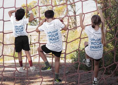 T-Shirt Mockup of Three Kids Climbing a Net 41897-r-el2