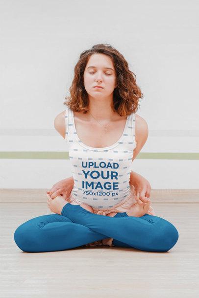 Tank Top Mockup of a Young Woman Doing an Advanced Yoga Pose 45626-r-el2