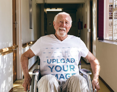 V-Neck Tee Mockup of a Senior Man Using a Wheelchair 46832-r-el2