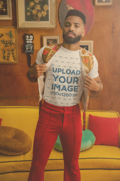 T-Shirt Mockup Featuring a Bearded Man with a 70's Style Attire M10516