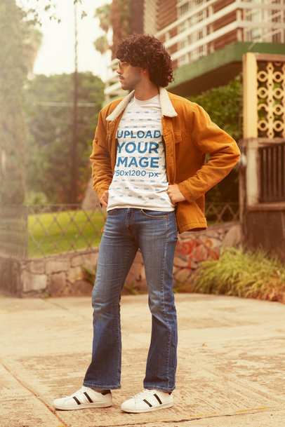 T-Shirt Mockup Featuring a Man in a 70's Outfit m10118