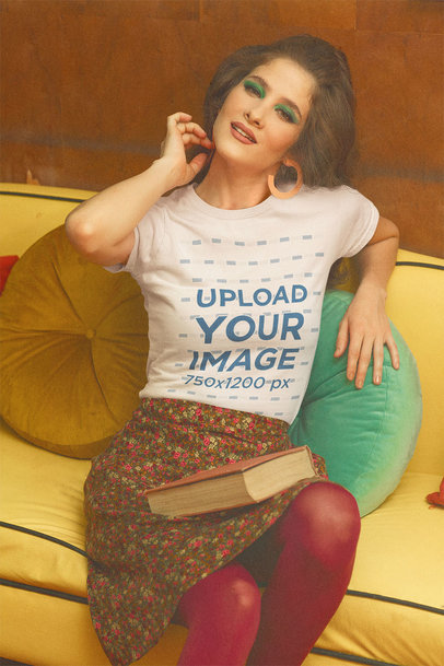 T-Shirt Mockup of a Retro Setting Featuring a Woman with a Book on Her Lap m10526