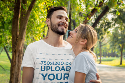 Heather T-Shirt Mockup Featuring a Happy Bearded Man and His Girlfriend at a Park m9826-r-el2