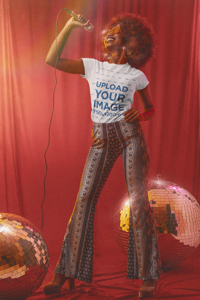 T-Shirt Mockup Featuring a Female Singer in a 70s-Styled Setting m10142