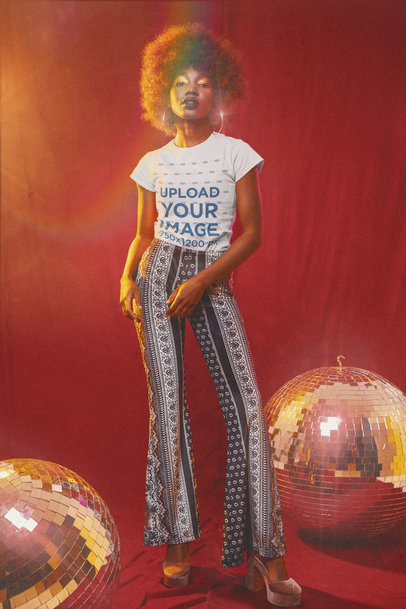 T-Shirt Mockup of a Woman in a 70s-Styled Setting m10140