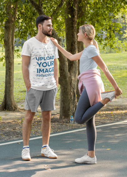 T-Shirt Mockup of a Man Working Out With His Girlfriend M9889-r-el2