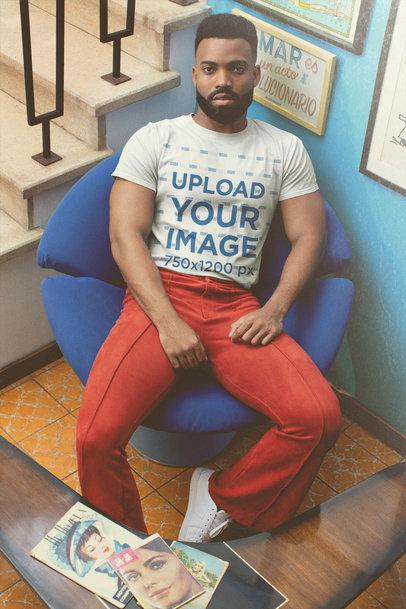 T-Shirt Mockup of a Bearded Man Wearing Retro Garments m10517