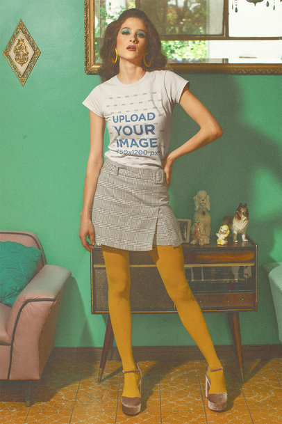 T-Shirt Mockup of a Woman in a 70's Outfit m10529