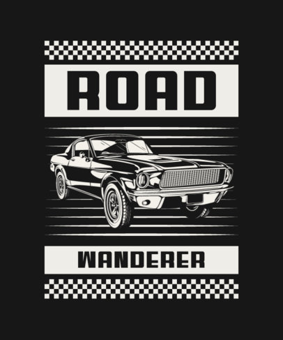 T-Shirt Design Template Featuring a Vintage Muscle Car and a Quote 4102b-el1