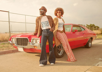 T-Shirt Mockup Featuring a Man and a Woman Posing by a 70s Car m10496