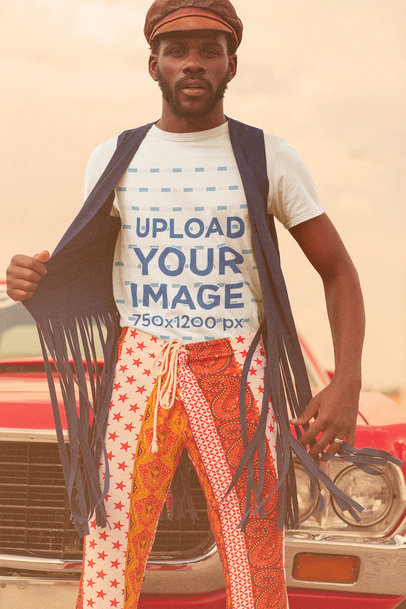Vintage-Looking T-Shirt Mockup Featuring a Man with a 70's-Style Outfit m10485