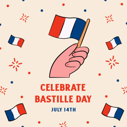 Instagram Post Generator to Celebrate Bastille Day Featuring French Flags  3772c