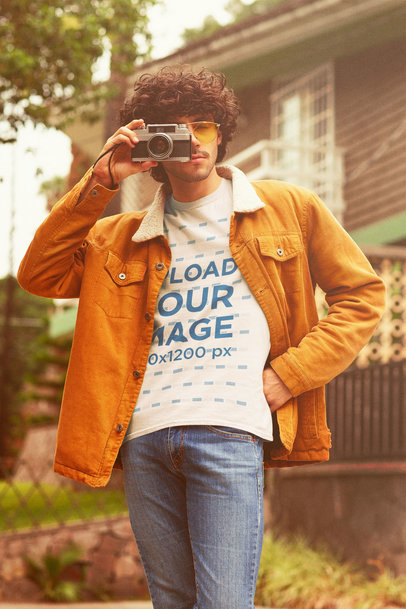 Retro Mockup of a Curly-Haired Photographer Wearing a T-Shirt m10120