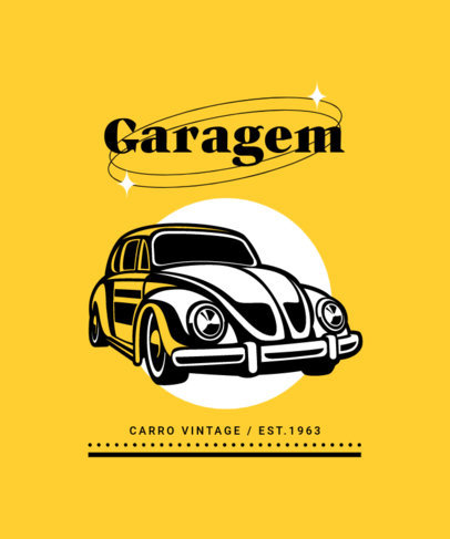 Illustrated T-Shirt Design Template Featuring a Vintage Beetle Car 4100b-el1