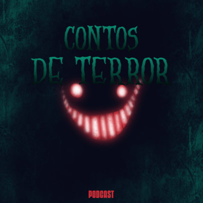 Cover Generator for a Horror Podcast Featuring a Creepy Grin 4430a