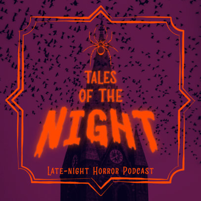 Horror Podcast Cover Template with a Fun Retro Style 4428D