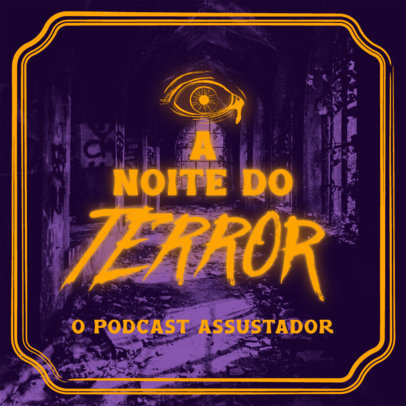 Scary Podcast Cover Maker with a Horror-Themed Background 4428E