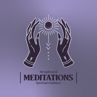 Meditation-Themed Logo Template Featuring Esoteric Illustrations 4423d