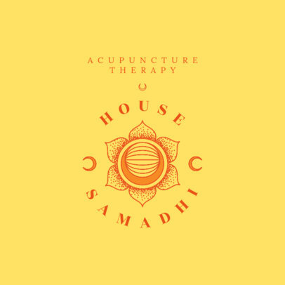 Logo Template for an Acupuncture Therapy Center with a Samadhi Flower 4421a
