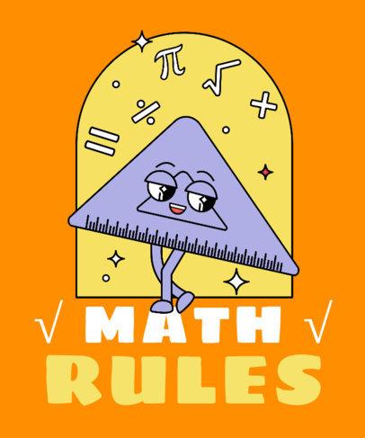 T-Shirt Design Template Featuring a Ruler Cartoon with Math Symbols 3792f