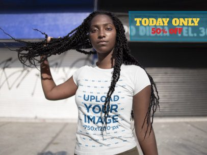 Facebook Ad - Black Girl Playing with Dreadlocks Wearing a T-Shirt a15962