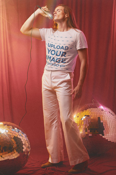 T-Shirt Mockup Featuring a Long-Haired Singer Standing by Some Disco Balls m10151