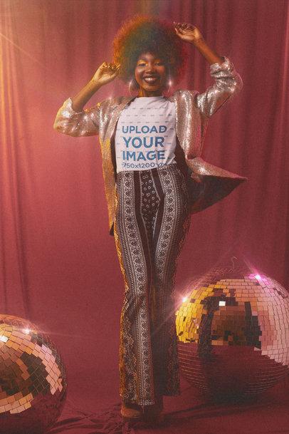 Mockup of a 70's Disco Diva Wearing a T-Shirt m10141