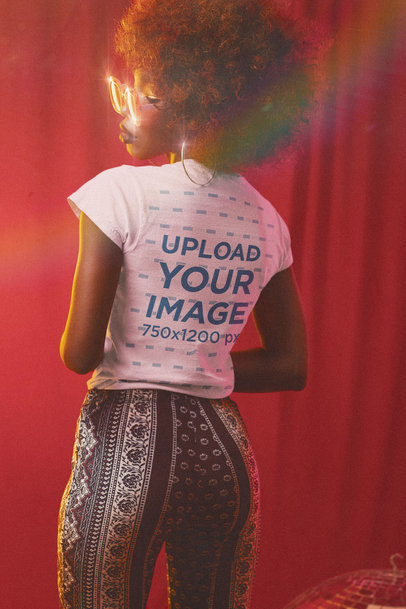 Back-View T-Shirt Mockup of a Woman in a 70s-Inspired Outfit m10143