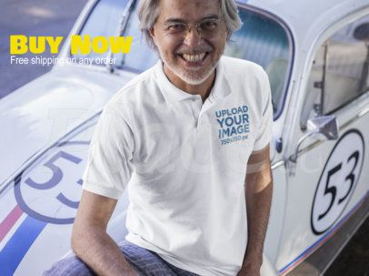 Facebook Ad - Happy Senior Man Wearing a Polo Shirt Near a Vintage Car a15749